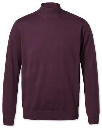 Wine mock turtleneck merino sweater