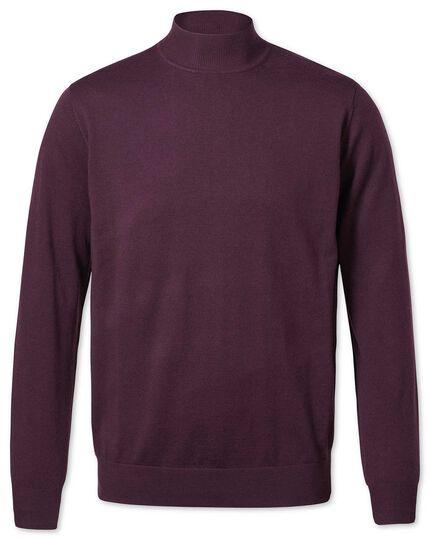Wine mock turtleneck merino sweater