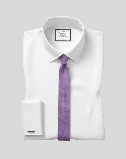 Silk Slim Spot Tie - Lilac & White