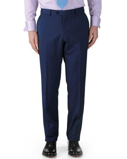 Royal blue classic fit twill business suit trouser