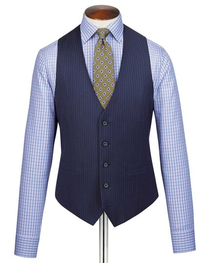 Blue adjustable fit twill stripe business suit waistcoat