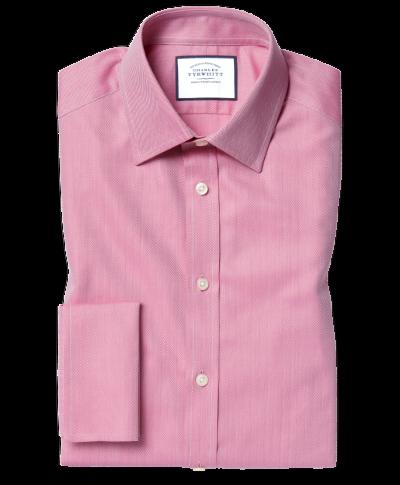 Classic Collar Egyptian Cotton Herringbone Shirt - Magenta