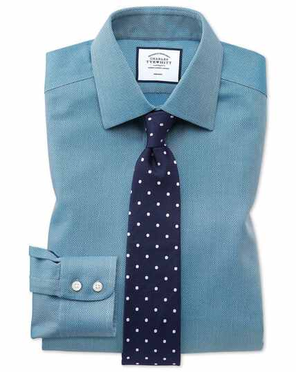 Extra slim fit non-iron teal arrow weave shirt