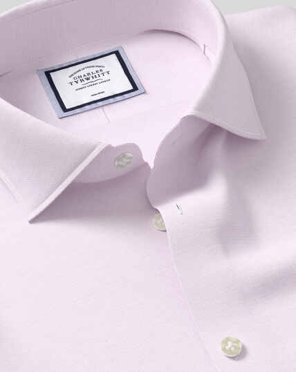 Bügelfreies Oxfordhemd mit Business-Casual-Kragen aus Baumwolle & Leinen - Lila