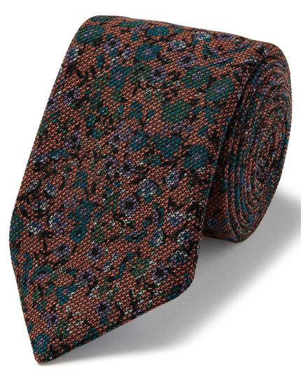 Orange multi floral wool print luxury Italian tie
