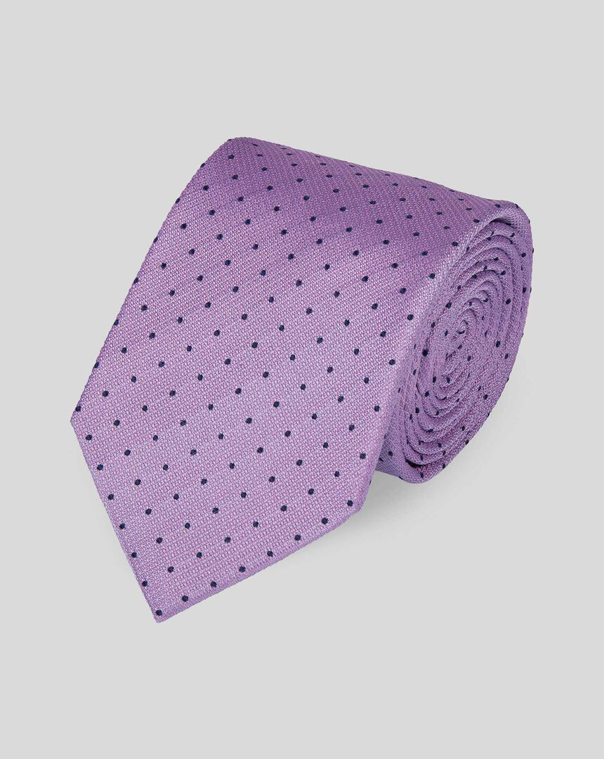 Stain Resistant Silk Textured Spot Tie - Lilac & Navy