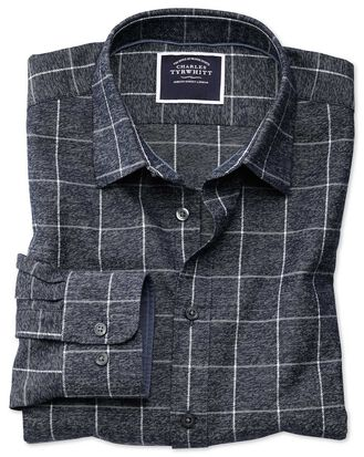 Classic fit navy and white check soft textured shirt