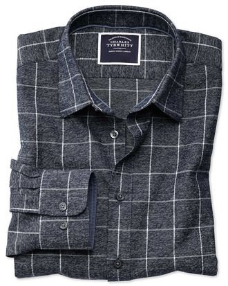 Slim fit navy and white check soft textured shirt