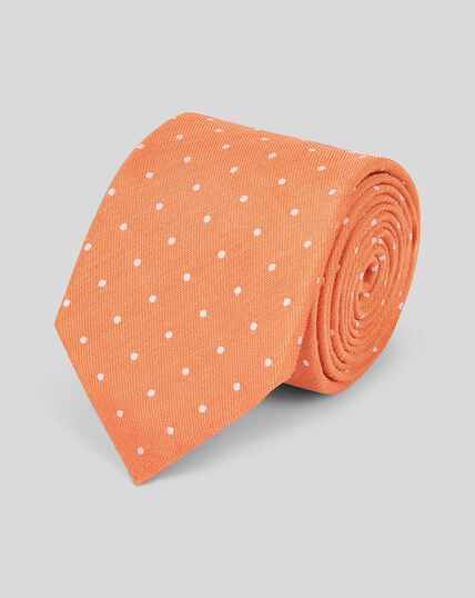 Silk Linen Spot Classic Tie - Orange