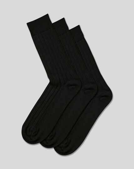 Wool Rich 3 Pack Socks - Black
