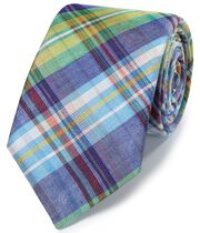 Cravate luxe verte en lin et soie italiens à carreaux