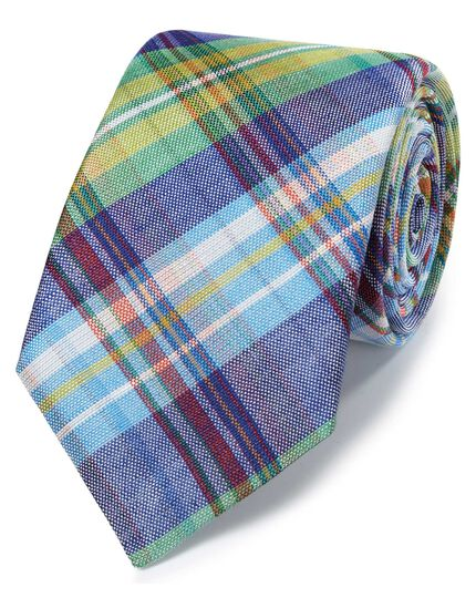 Green check linen silk Italian luxury tie