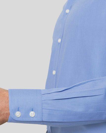 Classic Collar Non-Iron Mini Herringbone Shirt - Blue