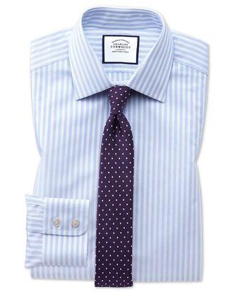 Extra slim fit sky blue dobby textured stripe shirt