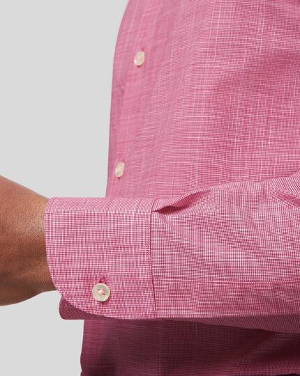 Business Casual Collar Cotton Slub Shirt - Pink