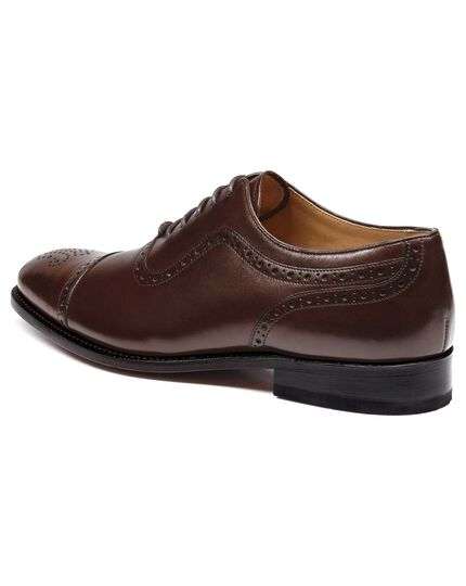 adf5864d7705a3 Chocolate Goodyear welted Oxford brogue leather sole shoe