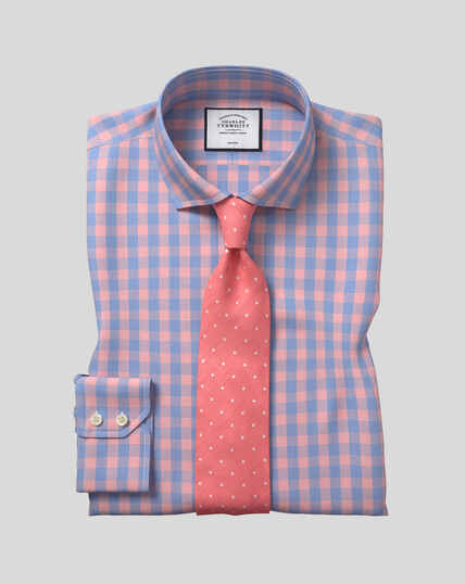 Cutaway Collar Non-Iron Tyrwhitt Cool Poplin Check Shirt - Orange