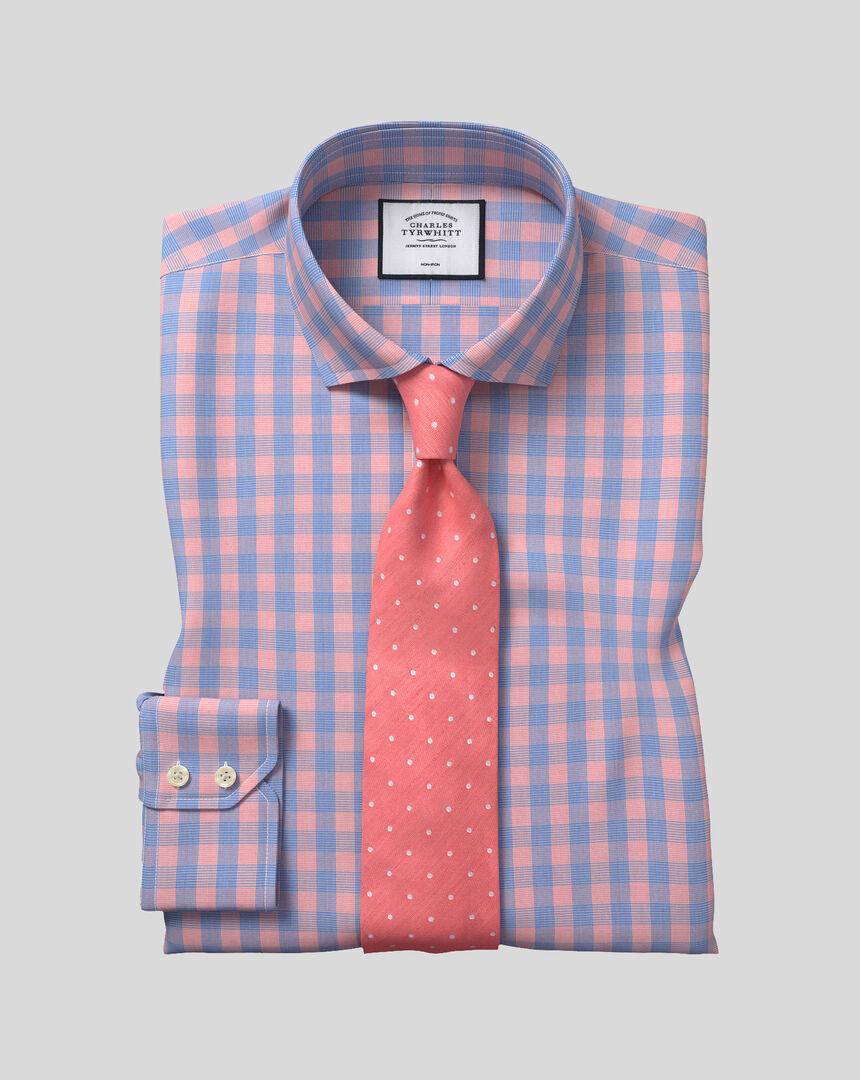 Bügelfreies Tyrwhitt Cool Popeline-Hemd mit Haifischkragen und Karos - Blau & Orange