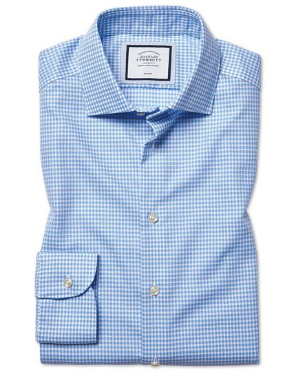 Slim fit non-iron natural stretch sky blue shirt