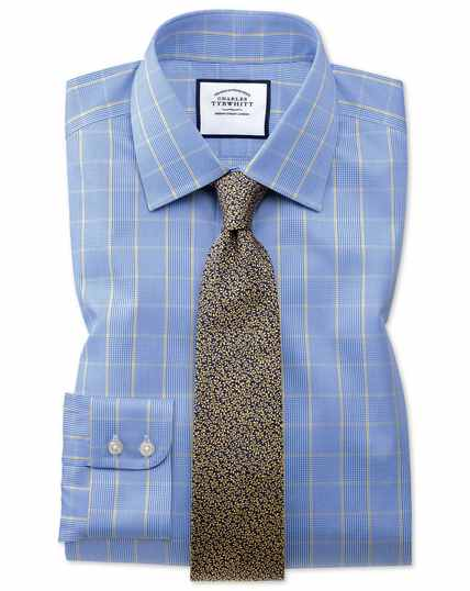Classic fit non-iron Prince of Wales blue and gold shirt