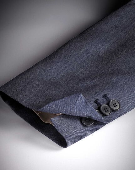 Light blue slim fit twill business suit jacket