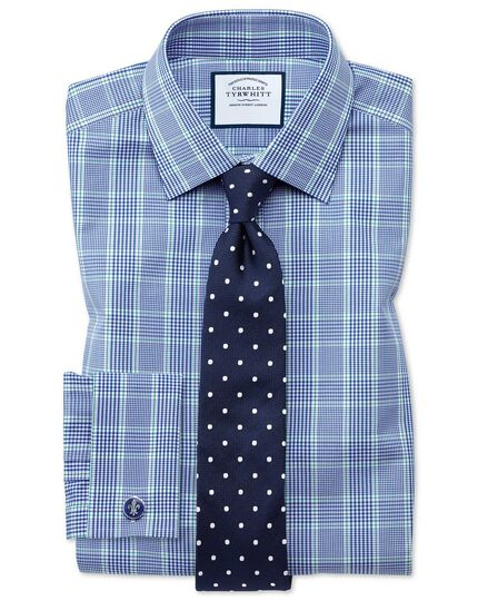Extra slim fit blue and green Prince of Wales check shirt
