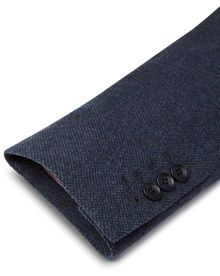 Classic fit blue semi plain textured wool jacket