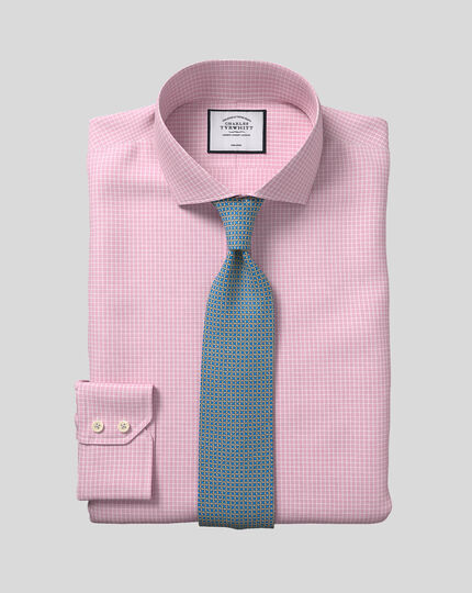 Cutaway Collar Non-Iron Cotton Stretch Check Shirt - Pink