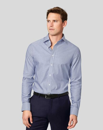 Semi-Cutaway Collar Egyptian Cotton Twill Bengal Stripe Shirt - Royal Blue