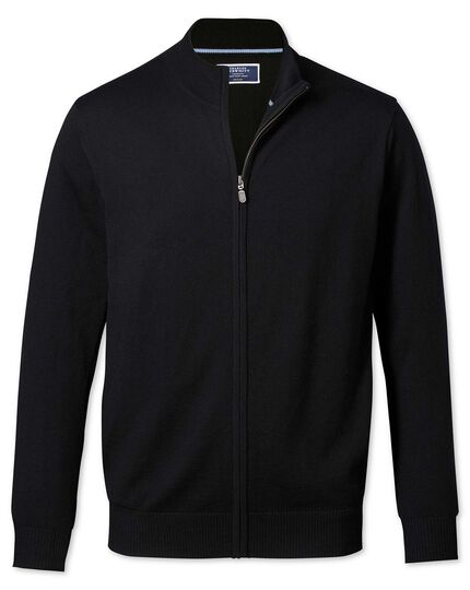 Black merino wool zip through cardigan