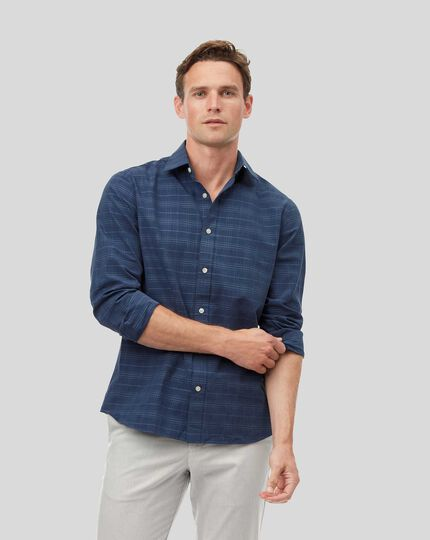 Classic Collar Tone-on-tone Check Shirt - Navy