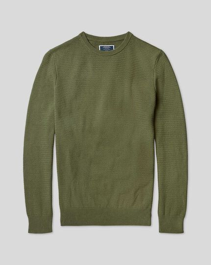 Cotton Crew Neck Sweater - Olive