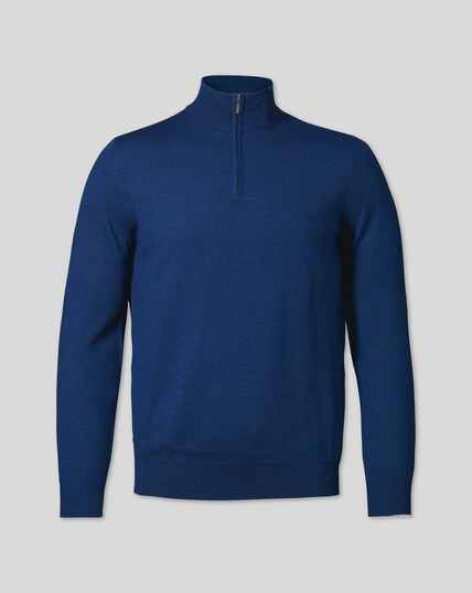 Merino Zip Neck Jumper - Royal Blue