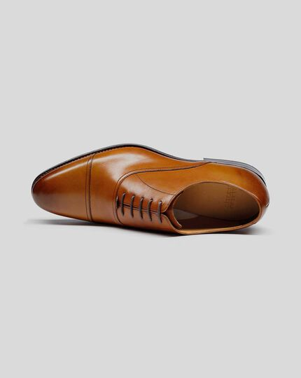 Goodyear Welted Oxford Toe Cap Shoes - Tan