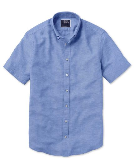 Classic fit bright blue cotton linen twill short sleeve shirt