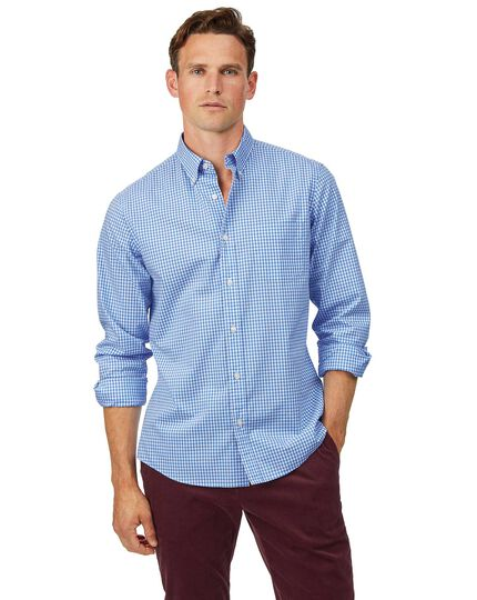 Slim fit soft washed non-iron stretch poplin gingham sky blue shirt