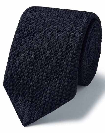 Dark navy silk grenadine Italian luxury tie