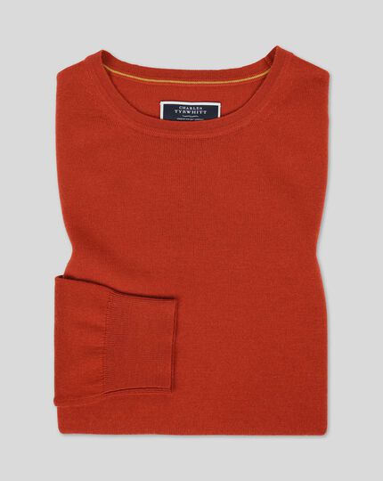 Merino Crew Neck Jumper - Orange