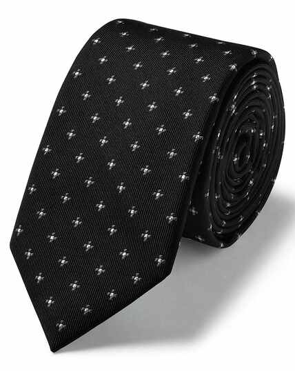 Black and silver lurex geometric slim tie
