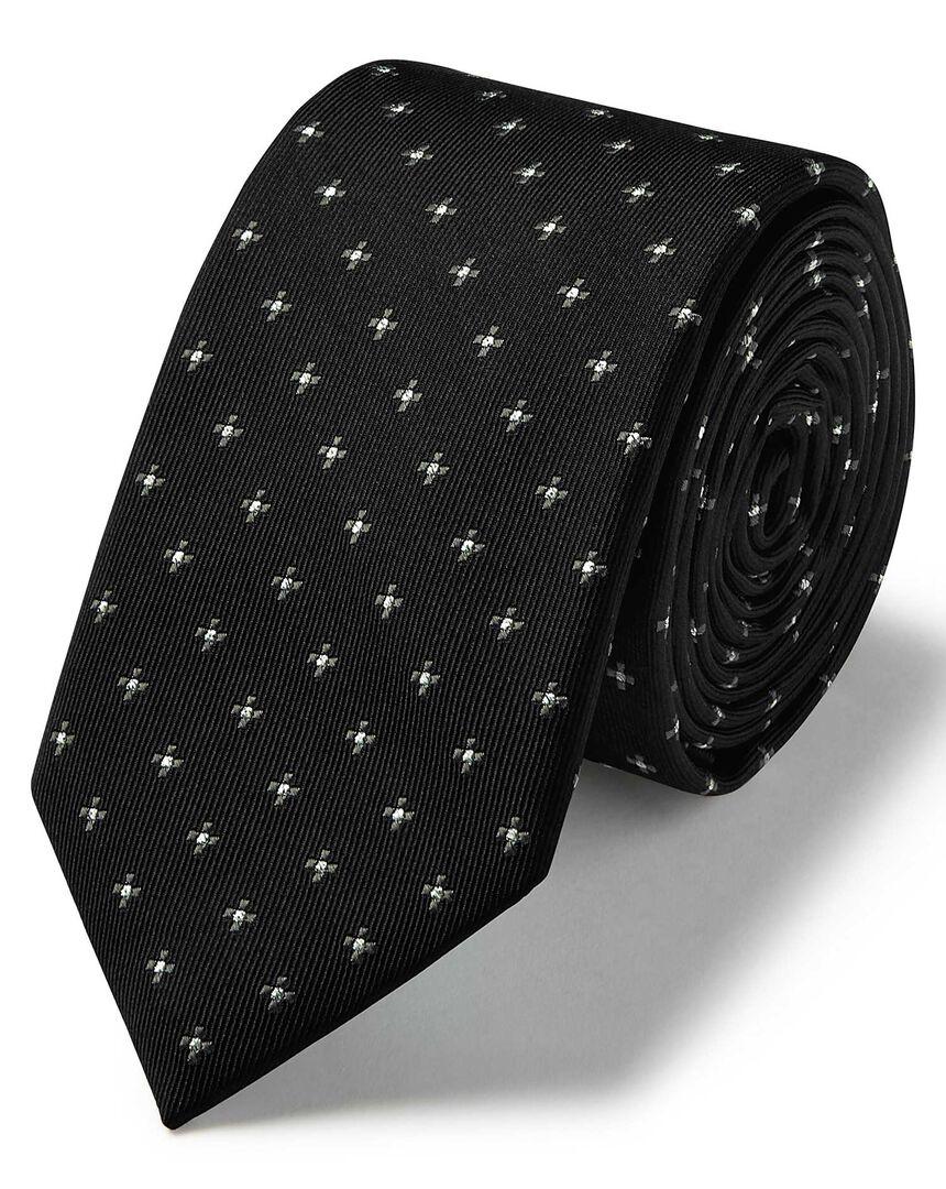 Black and silver lurex geometric slim tie