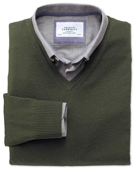 Dark green merino v-neck jumper