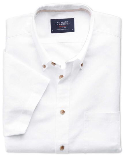 Slim fit short sleeve white shirt