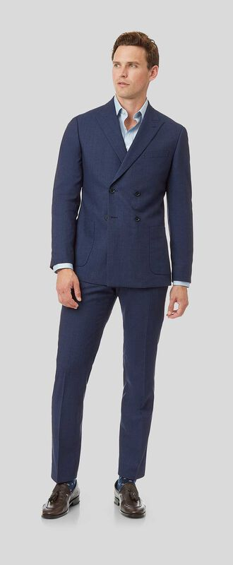 Mini Grid Double Breasted Suit - Blue