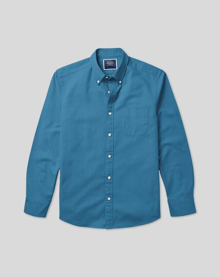Button-Down Collar Washed Oxford Shirt - Teal