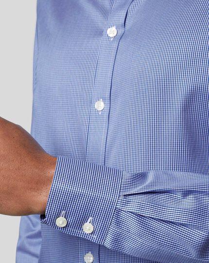 Bügelfreies Hemd mit Kent-Kragen und Hahnentrittmuster  - Königsblau