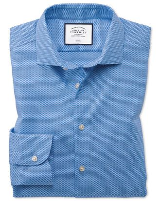 Slim fit business casual non-iron modern textures sky blue shirt