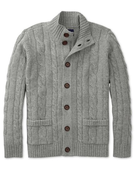 Grey lambswool cable cardigan