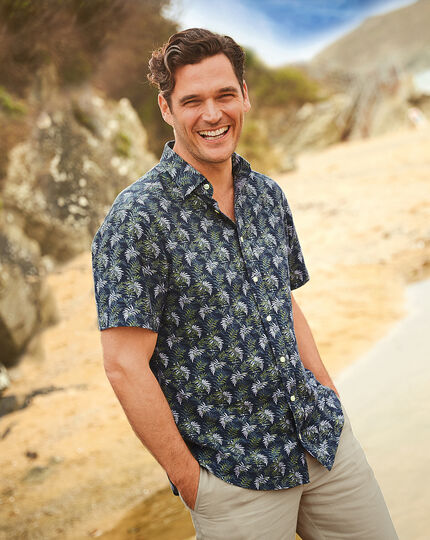 Slim fit short sleeve linen cotton leaf print navy and green shirt