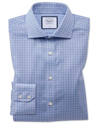 Slim fit non-iron cotton stretch Oxford grid check blue shirt