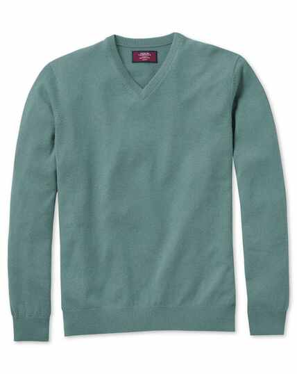Light green cashmere v-neck jumper